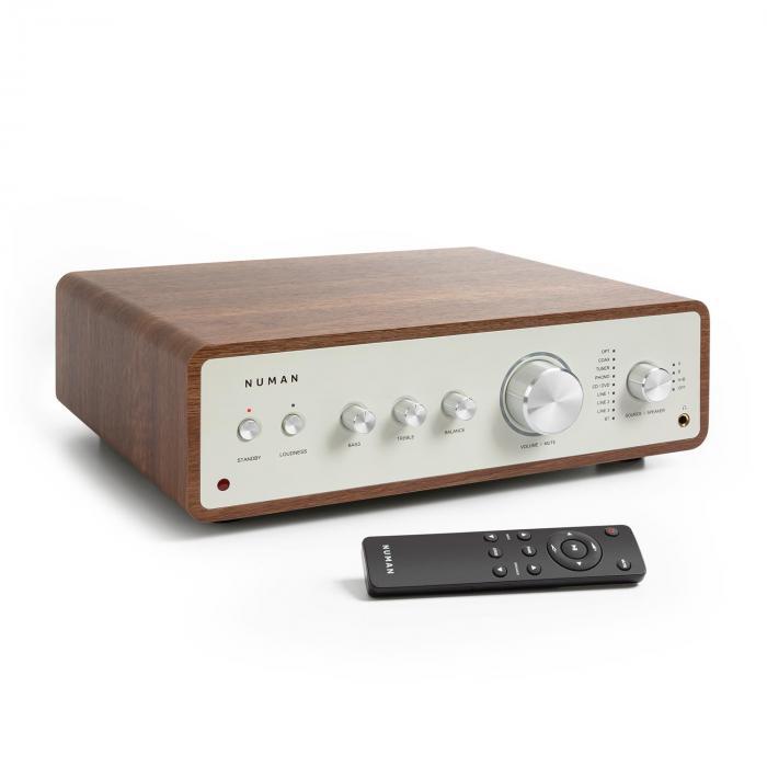 Drive Digital Stereo-Verstärker 2x170W/4x85W RMS AUX/Phono/Coax/Optical-In BT5.0 Fernbedienung walnuss