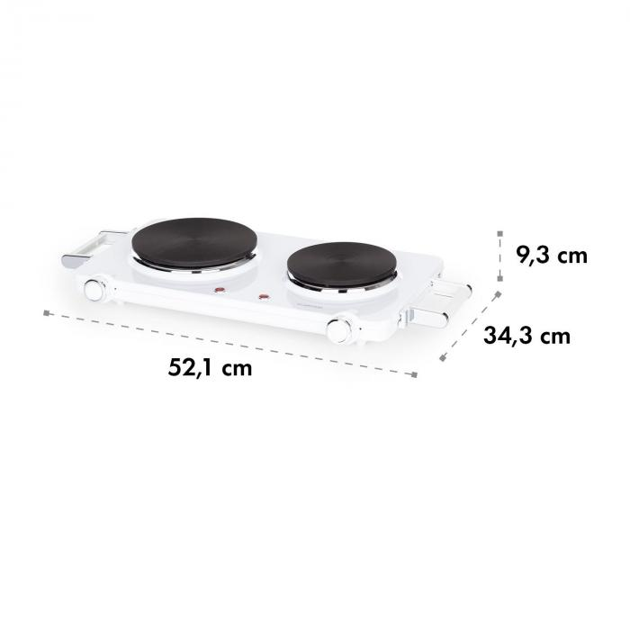 Cookorama piano cottura doppio 1900-2250 W 150/180 mm Ø 5 livelli bianco