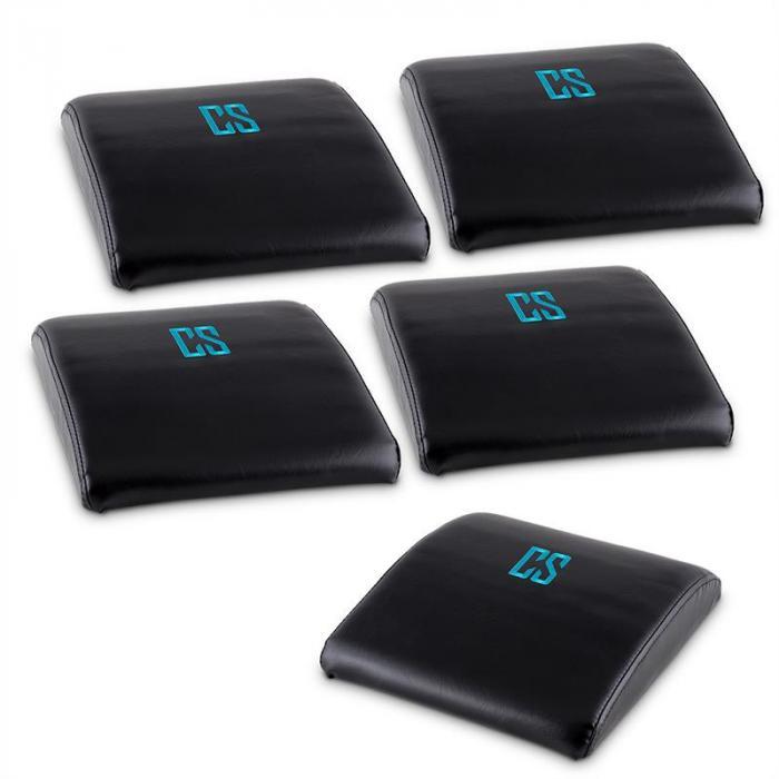 Backsill AB Set de 5 almofadas de apoio para exercicios abdominais, dorsais e sit-ups preto