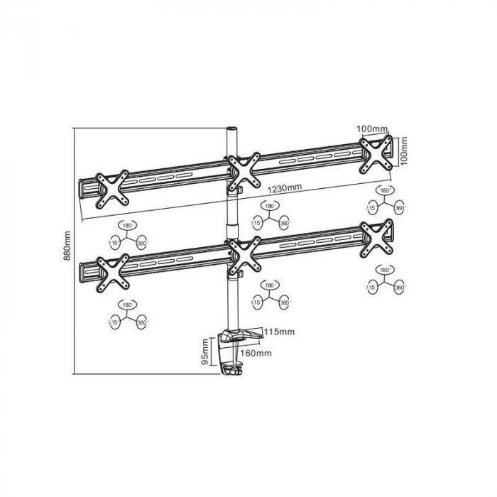 ET01-C06 Tischhalterung für 6 Monitore < 6x8kg