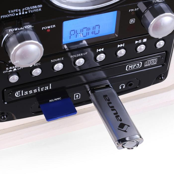 NR-620 stereolaite levysoitin, MP3-nauhoitus, puukotelo kerma