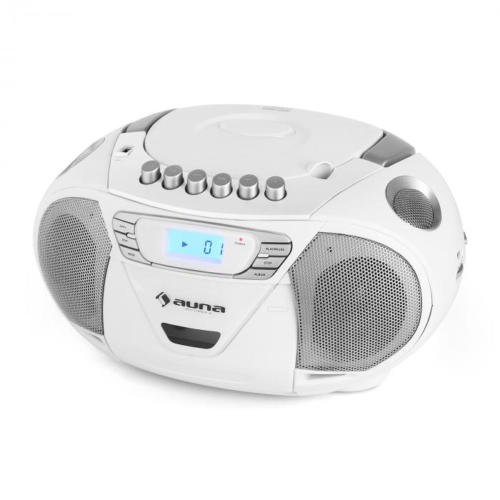 KrissKross ghettoblaster USB MP3 CD valkoinen
