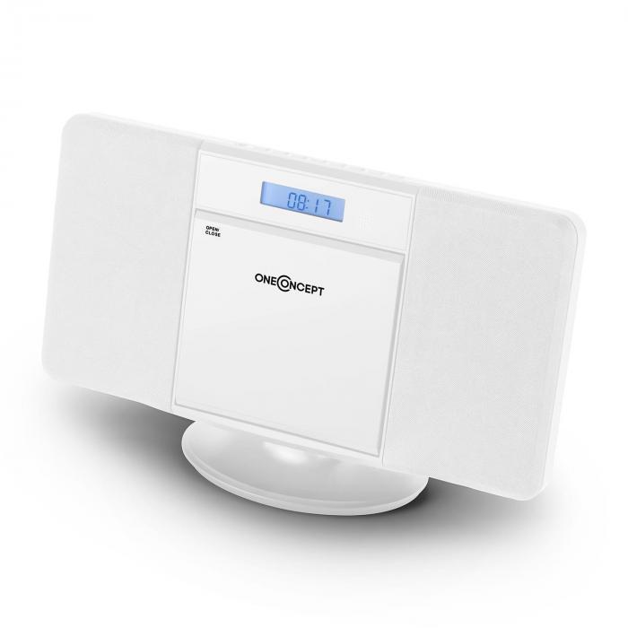 V-13 stereolaite CD MP3 USB radio herätyskello valkoinen seinäasennus