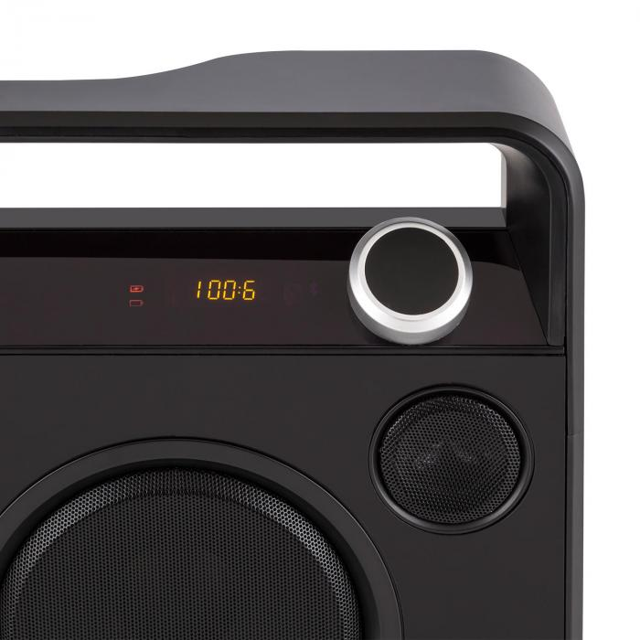 Bebop Ghettoblaster Boombox USB Bluetooth AUX MIC Battery Black