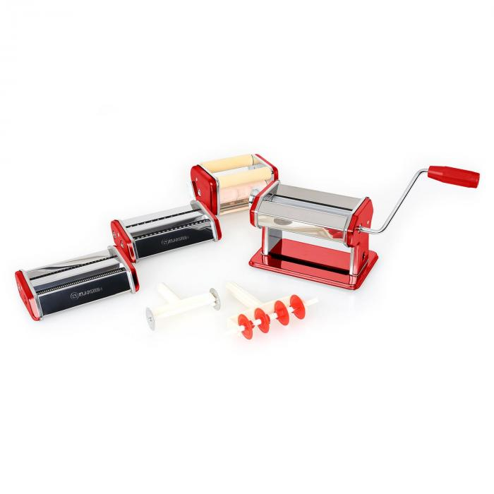 Serena Rossa Pasta Maker 3 Attachments Stainless Steel Red