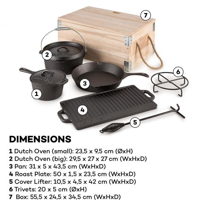Hotrod Masterplan Dutch Oven 7-częściowy BBQ komplet garnków żeliwnych