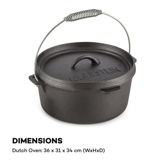 Hotrod 85 Dutch Oven BBQ-gryta 9 qt / 8,5 liter gjutjärn svart