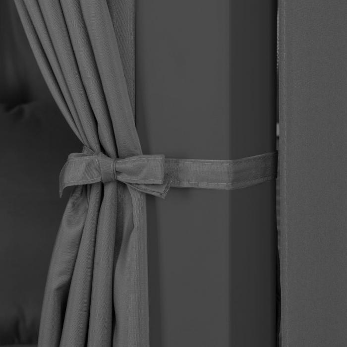 Eremitage Luxus-Hollywoodschaukel 236x180x210cm dunkelgrau/schwarz