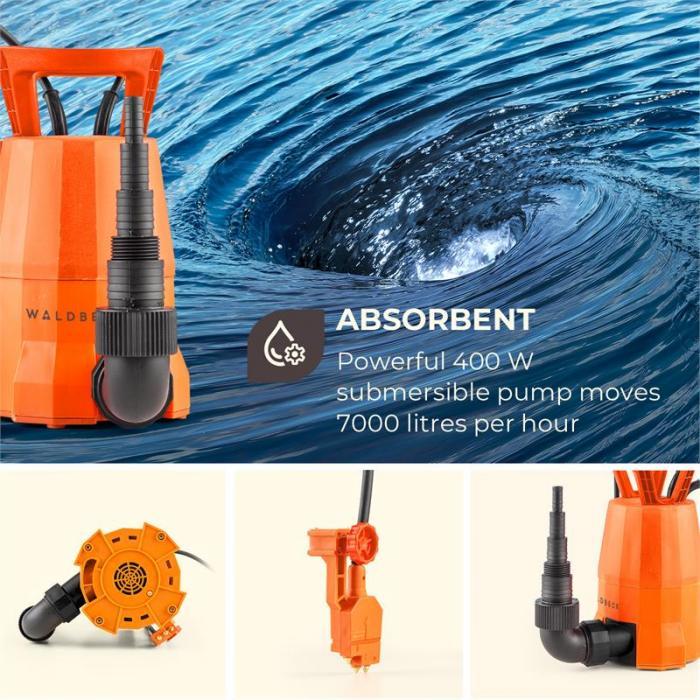 Nemesis-T400S Bomba sumergible, 400 W, 7000 l/h, Profundidad de extracción 7 m, Cable de 10 m