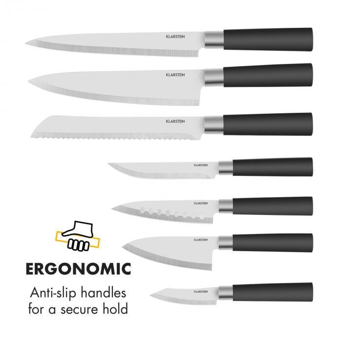 Kitano 8-osainen veitsisetti telineellä tarkkuusterä japanilainen muotoilu
