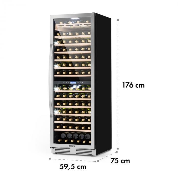 Vinovilla Grande Duo suuri viinijääkaappi 425l 165 pulloa 3 väriä lasi