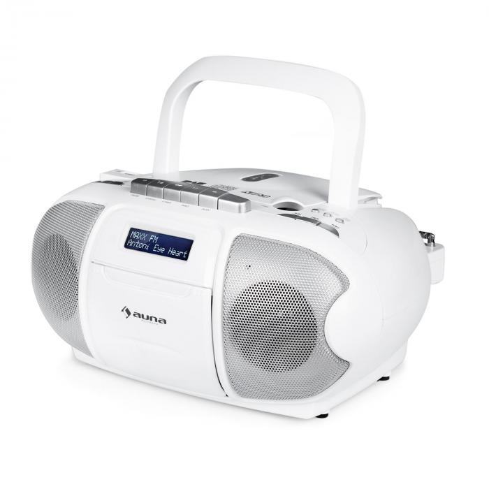 BeeBerry DAB radiomagnetofon boombox gettoblaster USB CD MP3 biały