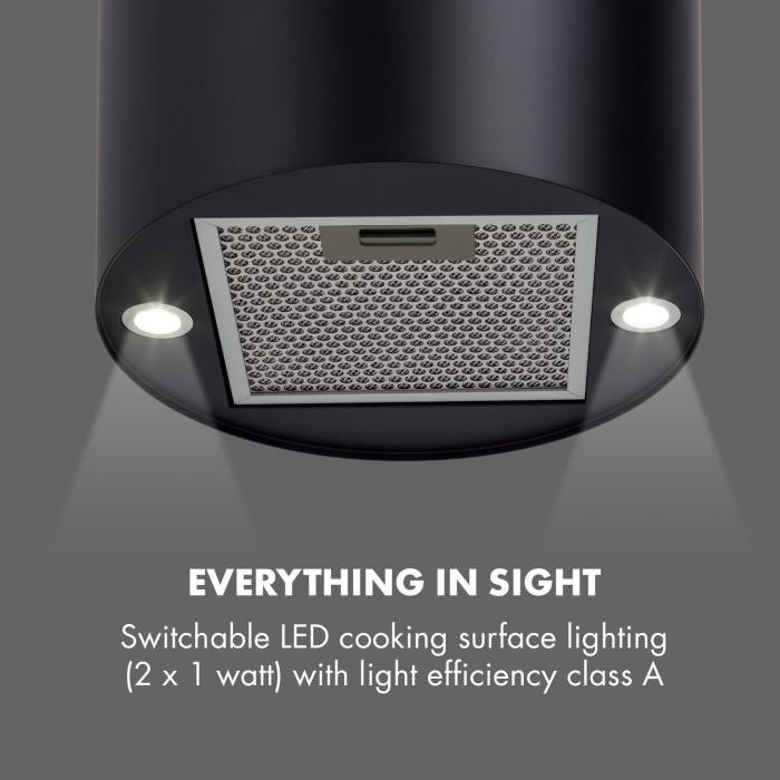 Barett Campana extractora de isla Ø35 cm Circulación de aire  590 m³/h LED Negro