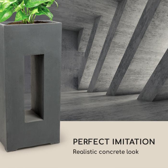 Airflor planteringskruka 45 x 100 x 27 cm glasfiber in-/outdoor mörkgrå