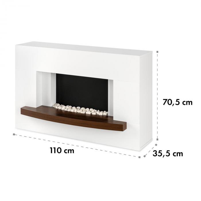 Montreux Camino elettrico 1000/2000 W, InstaFire, con telecomando, bianco