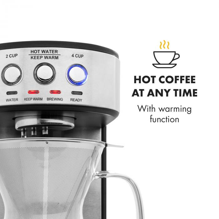 Perfect Brew Coffee Maker 1800W Timer Glass Jug Stainless Steel Silver