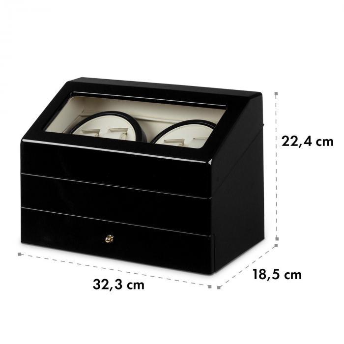 Geneva horlogeopwinder 4 horloges 4 modi schuiflade zwart