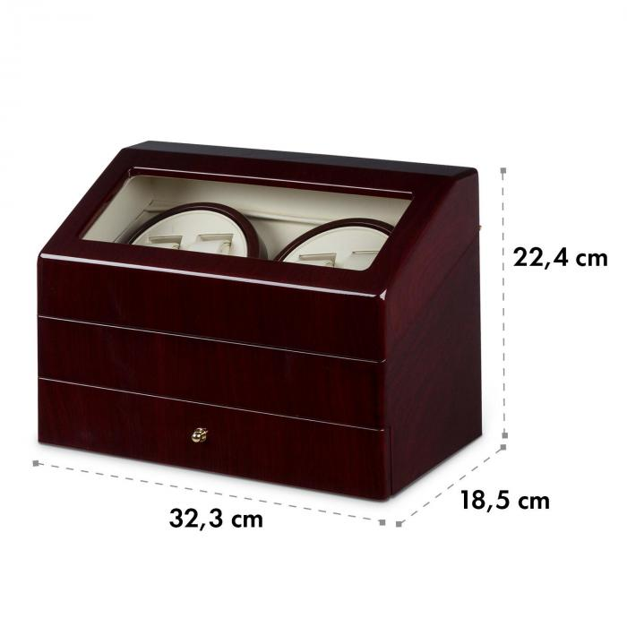 geneva uhrenbeweger 4 uhren 4 modi schubfach rosenholzoptik rot online kaufen elektronik star ch. Black Bedroom Furniture Sets. Home Design Ideas