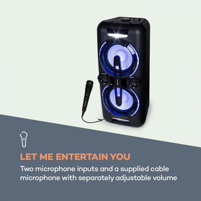 Bazzter Party Audio System 2 x 50W RMS Batteria BT USB MP3 AUX FM  LED Microfono