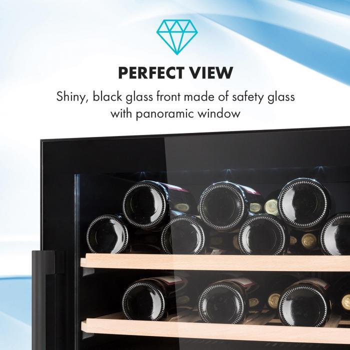 Barossa 40D Wine Fridge 2 Zones 135 L 41 Bottles Glass Door Touch