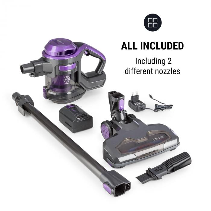 oneconcept cleanfree cordless vacuum cleaner cyclonic system black purple. Black Bedroom Furniture Sets. Home Design Ideas