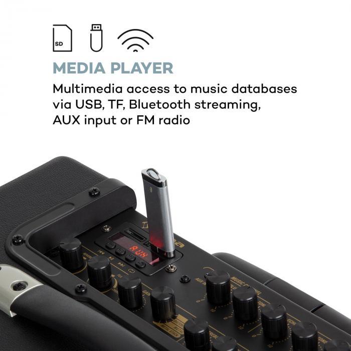 """Streetstar Retro 50 PA System 10"""" Woofer 120W max. Mic USB TF BT AUX FM"""