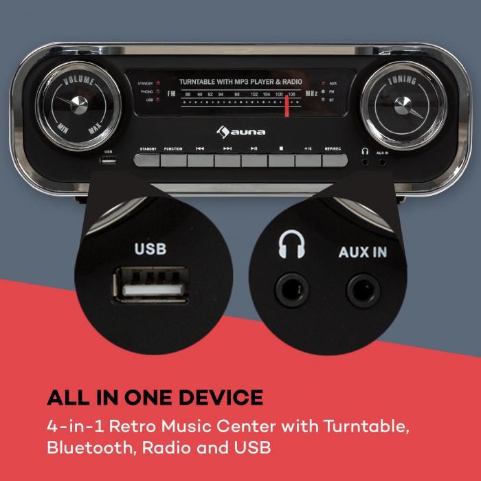 Challenger LP platenspeler bleutooth FM radio USB zwart