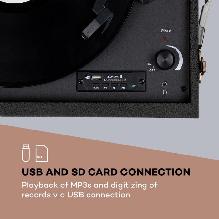 Sarah Ann levysoitin bluetooth USB 33, 45 ja 78 rpm musta/kermanvärinen