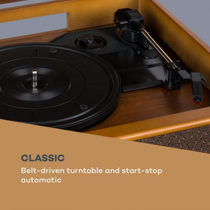 una Belle Epoque 1910 retro-stereo platenspeler CD-speler luidspreker