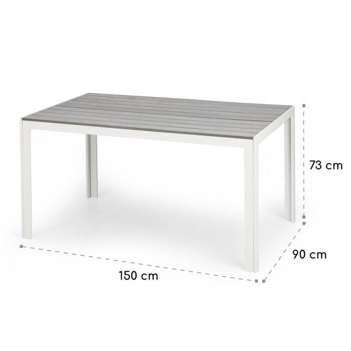 Bilbao puutarhapöytä 150 x 90 cm polywood alumiini valkoinen/harmaa