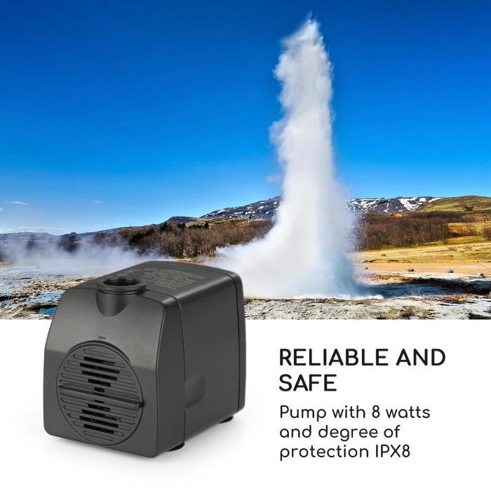 Raincastle Garden Fountain 12 LEDs Pump with 8W IPX8 Loopflow Concept