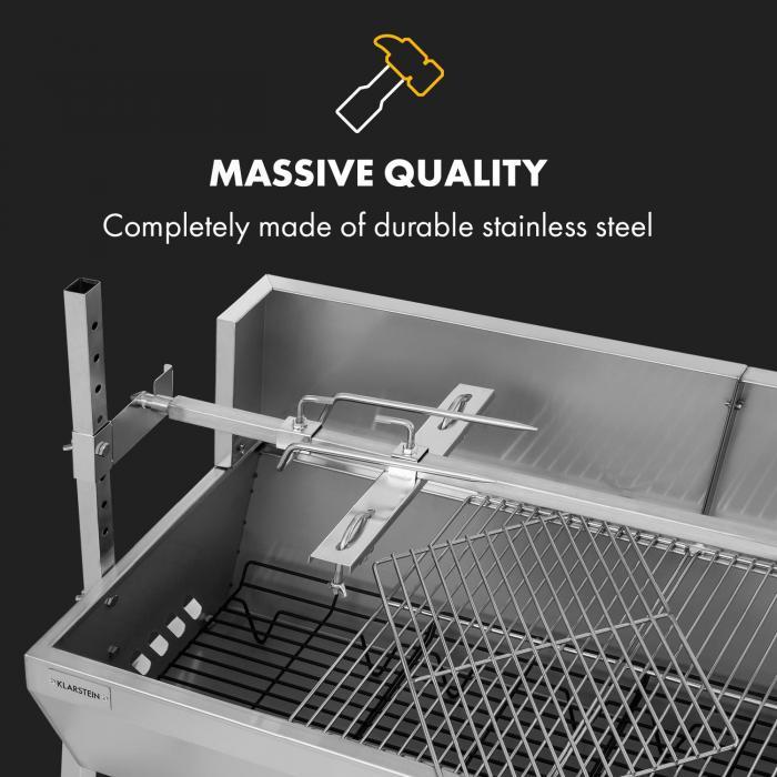 Sauenland Pro Suckling Pig Spit 15W 4 Wheels Stainless Steel