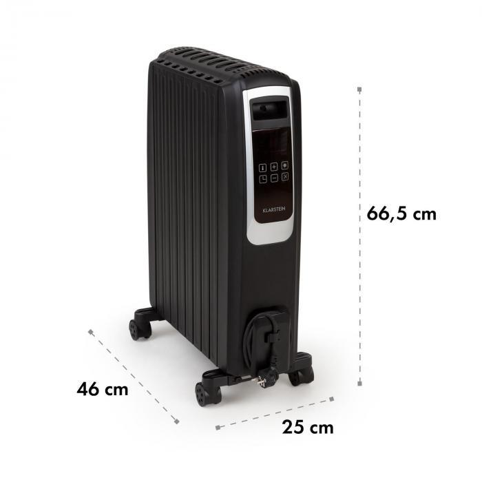 Thermaxx Noir Ölradiator 2500W 10-30° C 24h-Timer Fernbedienung schwarz