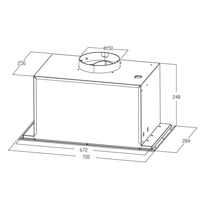 Simplica cappa aspirante a incasso 70cm aria di scarico: 400 m³/h LED acciaio inox