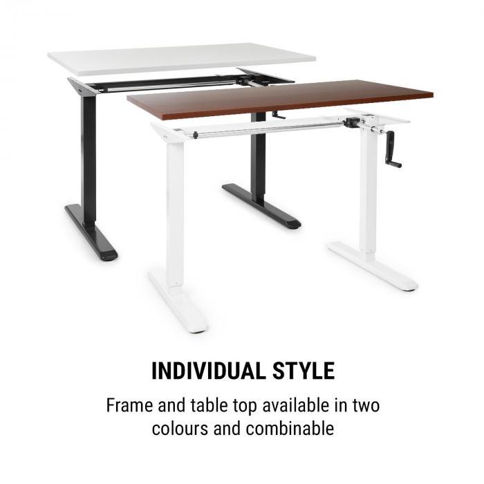 Sitz- /& Stehschreibtisch OneConcept Multidesk h/öhenverstellbarer Schreibtisch schwarz manuelle Steuerung: Faltkurbel H/öhenverstellbar: 73-123 cm Tischgestell Breitenverstellbar: 100-160 cm