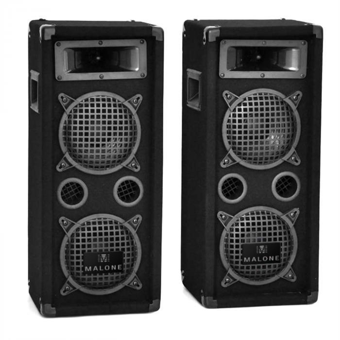 DJ PA System 'DJ-25M' 1600W Speakers Amplifier Mixer Mics