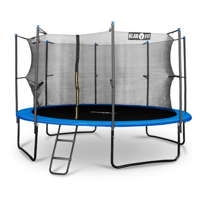 Rocketboy 366 trampoline 366cm veiligheidsnet binnenkant brede ladder, blauw
