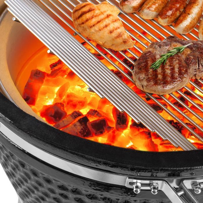 """Kingsize Kamado-grilli keraaminen 21"""" Smoker Slowcooking jaloteräs"""