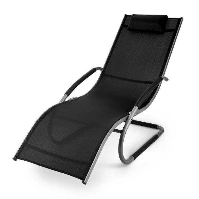 Sunwave puutarhatuoli lepotuoli keinutuoli rentoutumiseen alumiini musta