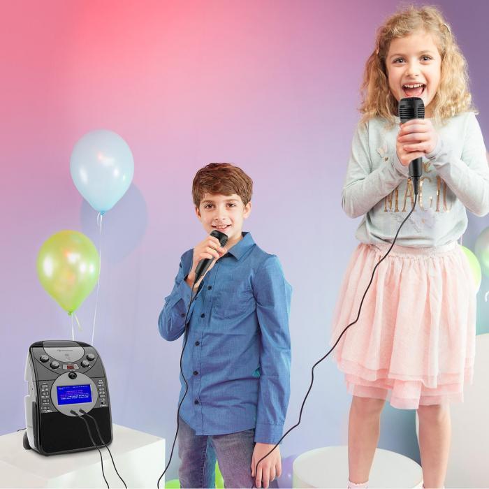 ScreenStar Zestaw karaoke Kamera CD USB SD MP3 z 2 x mikrofon czarny
