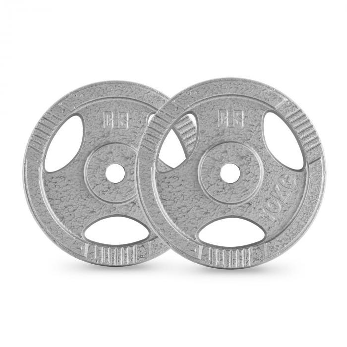 IP3H Set Dischi 30kg Con Bilanciere Supercurl 2 x 5 kg + 2 x 10 kg