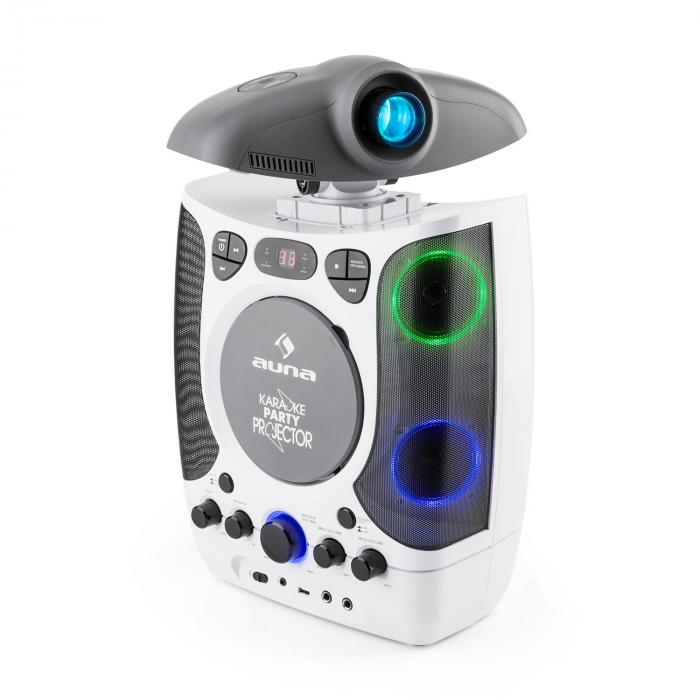 2 in 1 KaraProjectura Karaoke Machine LCD Beamer Projector LED Light Show USB 2 Mics MP3 CD White