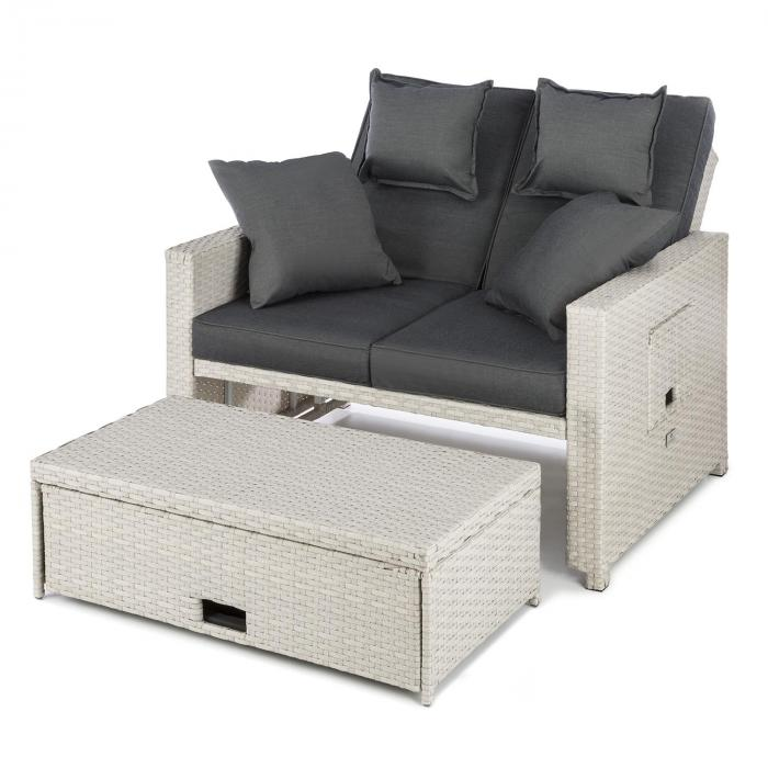 komfortzone rattan lounge sofa zweisitzer polyrattan klapptische wei wei online kaufen. Black Bedroom Furniture Sets. Home Design Ideas