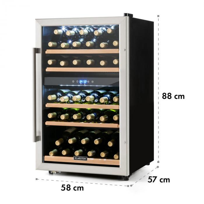 Vinamour 40D viinikaappi 2 aluetta 135 l 41 pullolle etusivu ruostumattomasta teräksestä