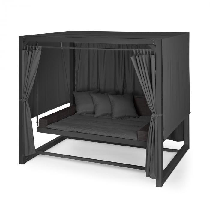 eremitage luxus hollywoodschaukel 236x180x210cm dunkelgrau schwarz schwarz online kaufen. Black Bedroom Furniture Sets. Home Design Ideas