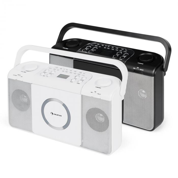 Boomtown USB Reproductor de CD Radio FM MP3 portátil Boombox blanco