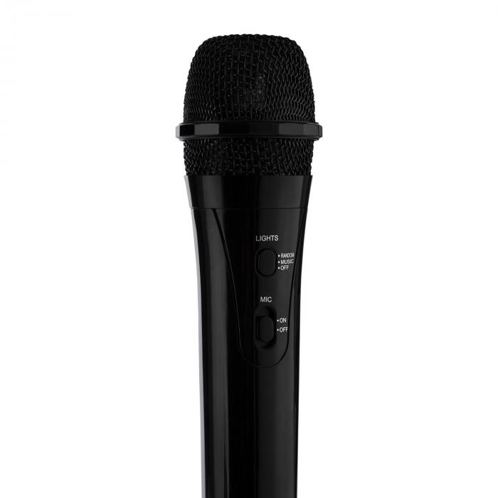 Kara Projectura nero + Dazzl Mic Set Karaoke Microfono Luci LED