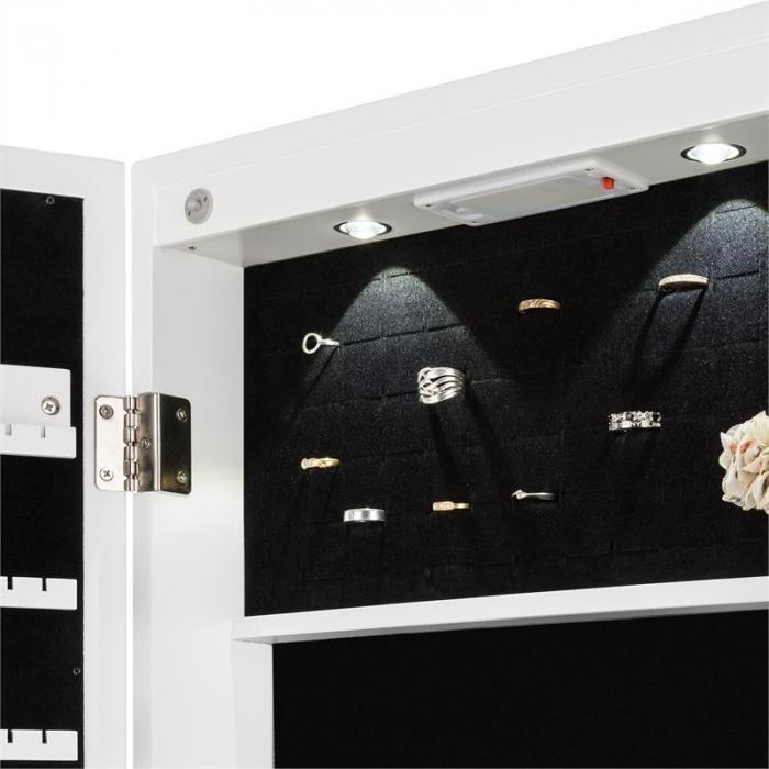 Smilla korukaappi korupeili 24x LED ovesta roikkuva lukollinen valkoinen