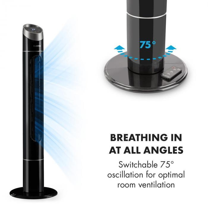 Sky High Ventilatore A Torre 40W 276m³/h Oscillazione 75°, 3 Modalità Nero