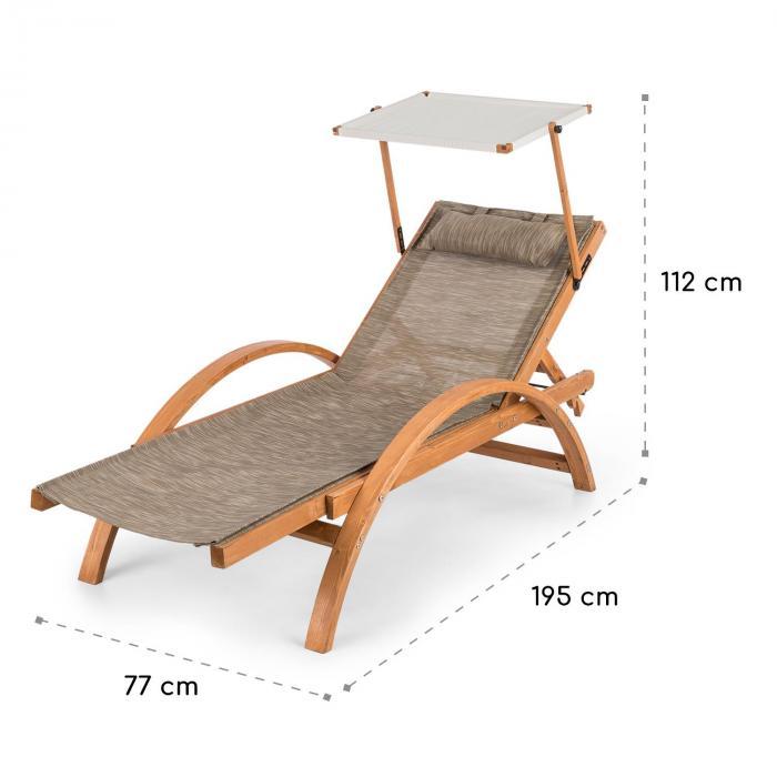Panamera Gartenliege mit Dach ComfortMesh Belastbarkeit: 110kg creme